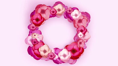 Rose Flowers blooming isolated on white background, Mother day background, Round wreath,  Floral decoration. Spring or summer sale. 3d animation with alpha mask and luma matte.