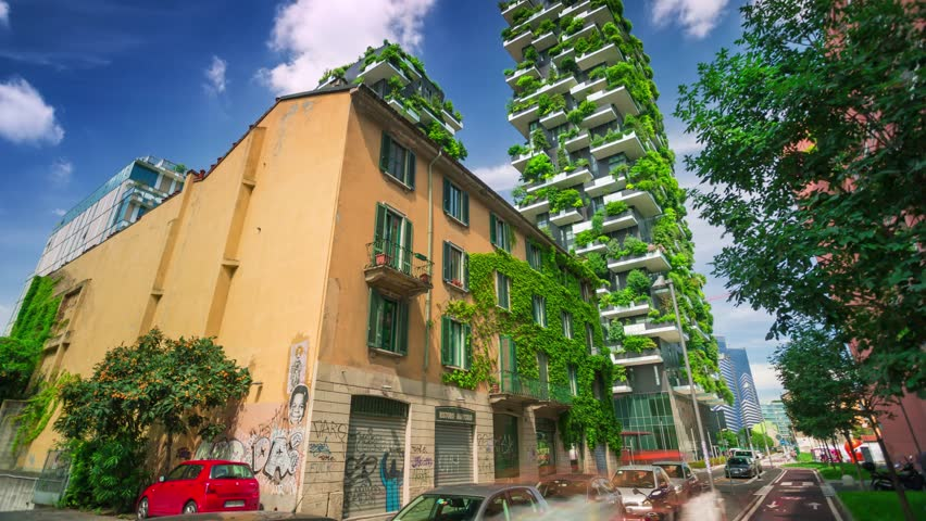 Milan, Italy - May 2017: Bosco Verticale or Vertical Forest is one best tall building worldwide. Is composed of two residential towers with a large variety of trees and plants on the balconies.