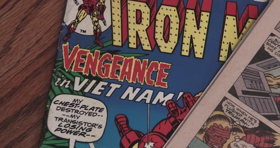 February 16, 2018, Bettendorf, Iowa, Iron Man Comic Books - Open Comic Book - Pan Marvel