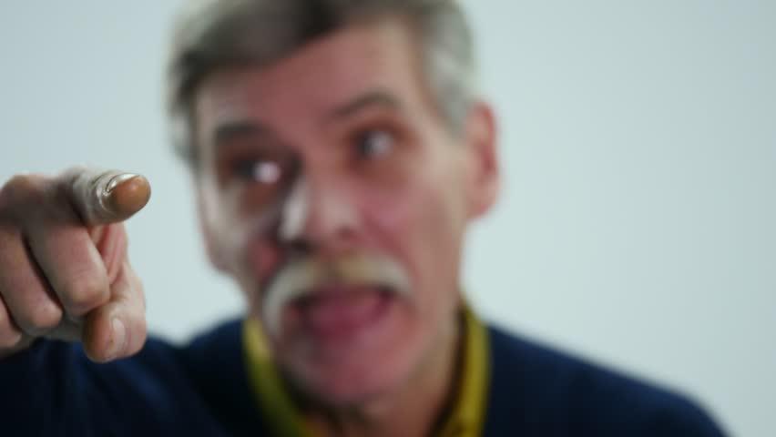 Portrait of elderly man laughing. selective focus