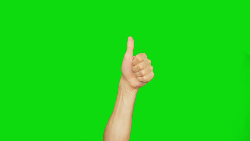 Mans hand show thumbs up gesture. Male hand rise up and do thumbs up. Alpha channel, keyed green screen.