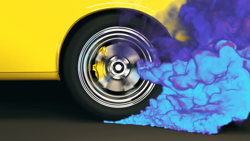 Bright yellow muscle car with chrome rims performs a burnout creating thick clouds of colorful blue and purple smoke. Rear wheel close-up. Seamless looping animation, 3D render.