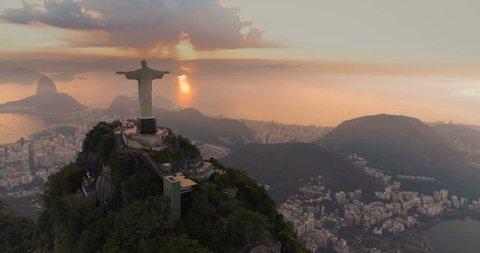 RIO DE JANEIRO, BRAZIL - JANUARY 2018: Aerial panorama of Rio de Janeiro with Christ the Redeemer Statue on the top of Corcovado Hill. Morning sunrise light, Brazil