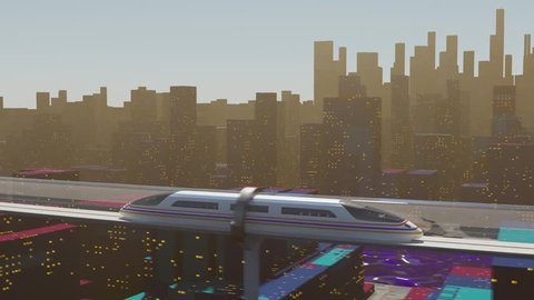 Concept of hyperloop. High-speed passenger train moves in a glass tunnel against a background of a night cityscape with lights. Seamless animation, loopable element