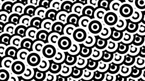 Black and white animated background featuring a seamless pattern with dynamic circle shapes. Perfect for masks,  overlays, mapping textures or as an elegant Art Deco background.