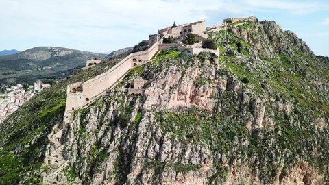 Aerial drone video from picturesque and famous fortress of Palamidi in city of Nafplio former capital of Greece, Argolida, Peloponnese