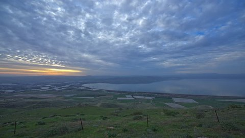 Day to night time lapse Sea of Galilee