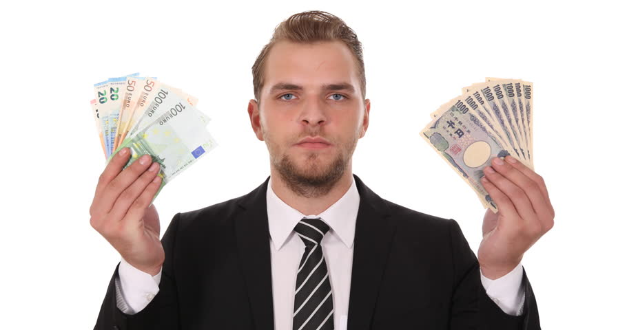Banker Man Show Japanese Yen Jpy Money Vs Euro Banknotes Foreign Exchange Rate | Shutterstock HD Video #1008215698