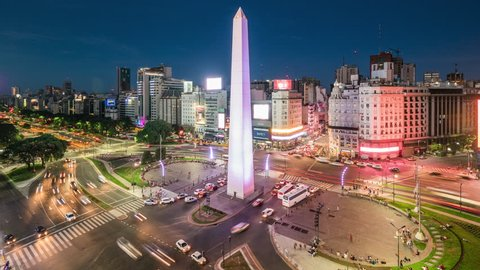 Buenos Aires, Argentina - January 20, 2018: Time lapse view of the Obelisk of Buenos Aires and 9 de Julio Ave, the widest avenue in the world.