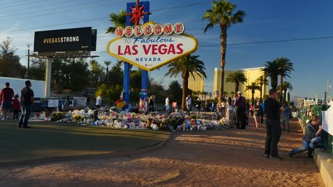 Las Vegas, Nevada/USA - October 10 2017: Las Vegas sign with bed of flowers as a memorial after the terror attack in October 2017