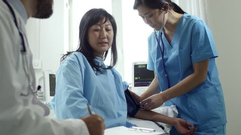 Medium shot of unrecognizable male doctor in lab coat talking with female patient as young nurse in scrubs measuring her arterial blood pressure