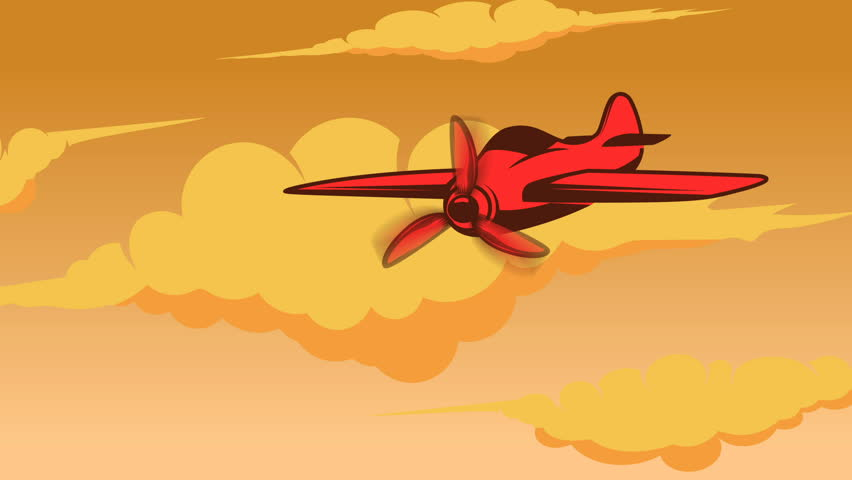 Retro style animation of sky with aeroplane. Cartoon style aviation transport