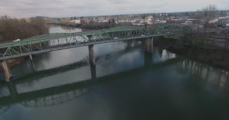 Overhead shot of HWY 20 Bridges going into Albany Oregon