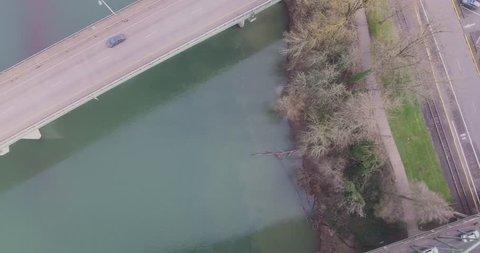 Drone flight over the Willamette River in Albany Oregon