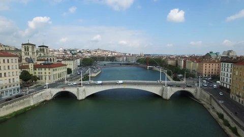 Lyon drone aerial footage, the third-largest city of France, above the Saone river in the historic city center / Video aerienne de Lyon par drone au dessus de la Saone et du vieux Lyon.