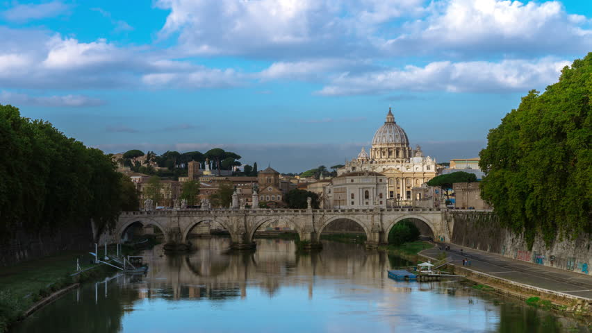 Time lapse of Rome Skyline with Vatican St Peter Basilica and St Angelo Bridge crossing Tiber River in the city center of Rome Italy , historical landmarks of the Ancient Rome , travel destination. | Shutterstock HD Video #1008278998