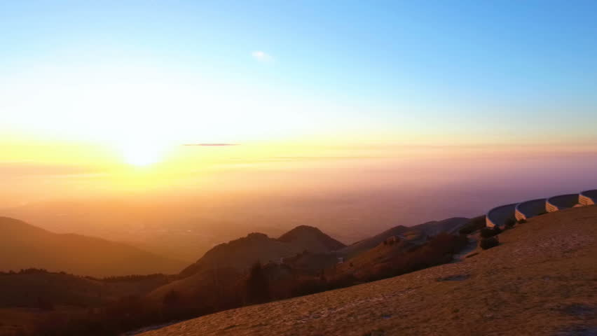 Panorama from the mountain Monte Grappa with the sunrise, Crespano del Grappa, Italy. | Shutterstock HD Video #1008292828