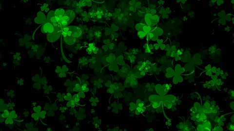 Background With Bright Leaved Greenery Clover And Shamrock On Black 3d Rendering Backdrop