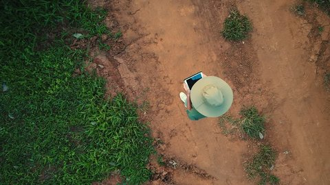 AERIAL. 100 meters up. Top view directly above a asian female farmer in the hat monitoring his farm with a tablet. Palms farm in Thailand.