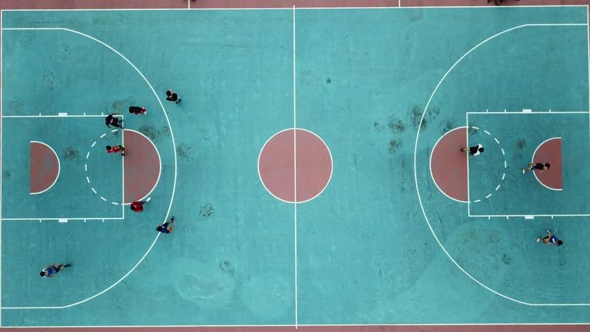 Colorful basketball court