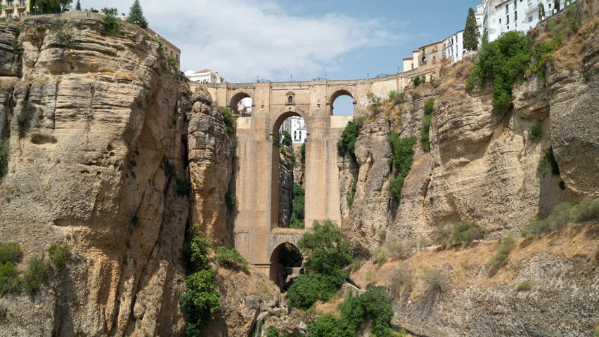 Beautiful timelapse view of Puente Nuevo bridge over Tajo Gorge in Ronda, Andalusia, Spain
