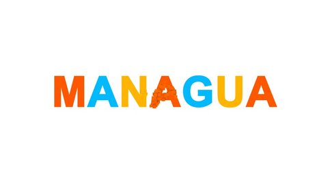 capital name MANAGUA from letters of different colors appears behind small squares. Then disappears. Alpha channel Premultiplied - Matted with color white