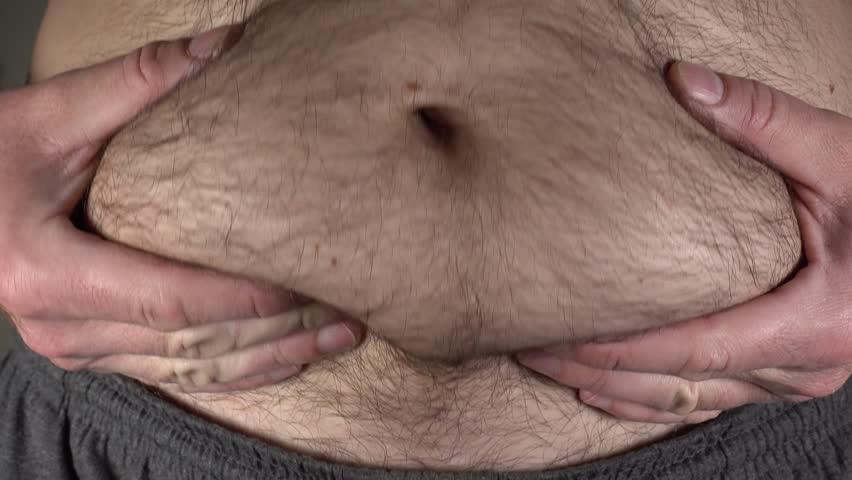 Man fat belly, 4k ultra hd video clip
