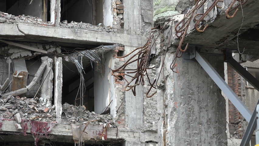 Ruins of Yugoslav Army headquarters in Belgrade in Serbia, bombed during a NATO