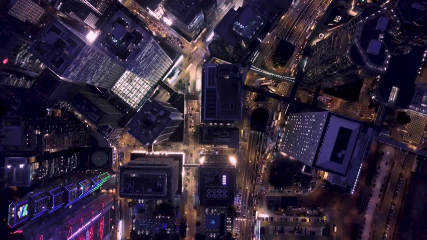 Aerial view of Hong Kong Central District from vertical angle | Shutterstock HD Video #1008459808