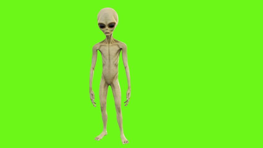 Alien dancing in gangnam style. Loopable animation on green screen. 4k.