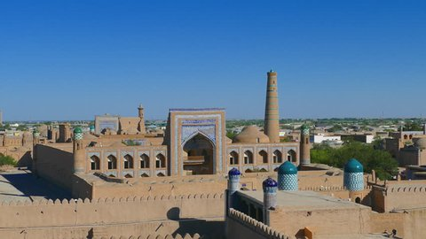 Panning of Ichon-Qala, the old town of Khiva from the watchtower of the Khuna Ark, in Uzbekistan