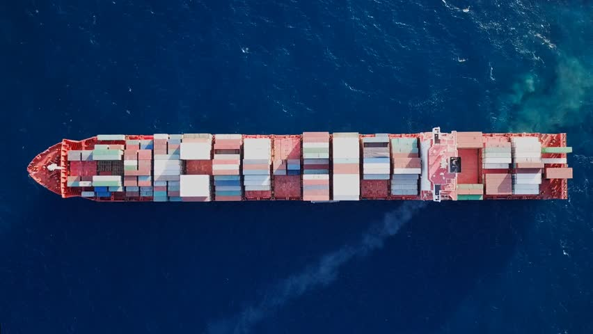 Top down aerial footage of a Large container ship at sea  #1008598708