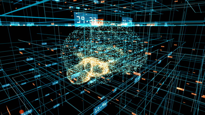 Human brain formed by revolving blue particles with orange particles pulsating inside. Grid and digits evolving around. Blue abstract futuristic science and technology motion background. 3D rendering. | Shutterstock HD Video #1008623608
