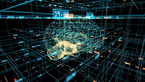 Human brain formed by revolving blue particles with orange particles pulsating inside. Grid and digits evolving around. Blue abstract futuristic science and technology motion background. 3D rendering.
