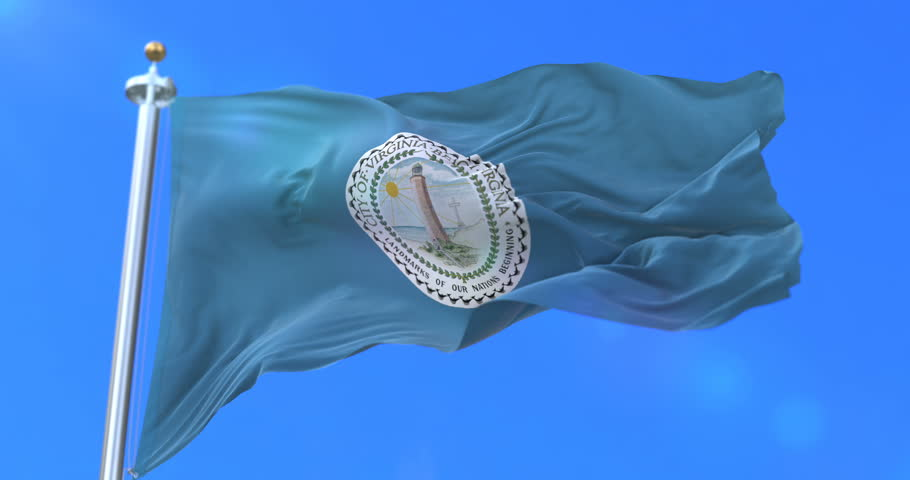 Virginia Beach city flag, city of USA or United States of America, waving at wind in blue sky, slow - loop