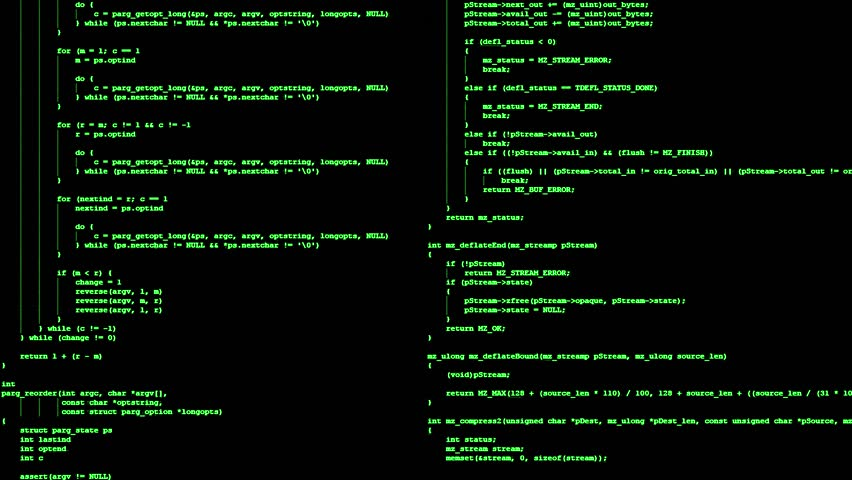 A 4K animation of two classic terminal screens, showing public domain source code projects running or scrolling down, green on black.