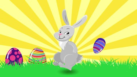 Cute dancing bunny rabbit and bouncing eggs. Happy holiday Easter greeting card animation. Seamless looping motion background.