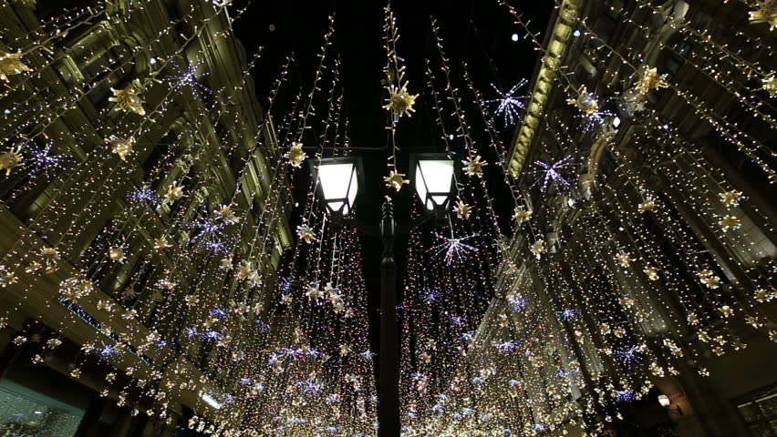 Christmas (New Year holidays) illumination on Nikolskaya Street near the Moscow Kremlin at night, Russia
