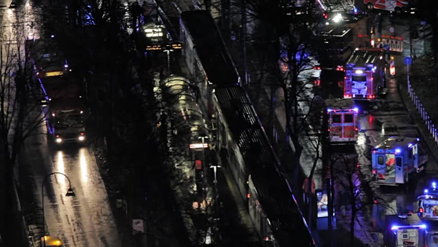 COLOGNE, GERMANY - MARCH 15, 2018 - aerial view - Collision of two trams - rescue team in action | Shutterstock HD Video #1008753938