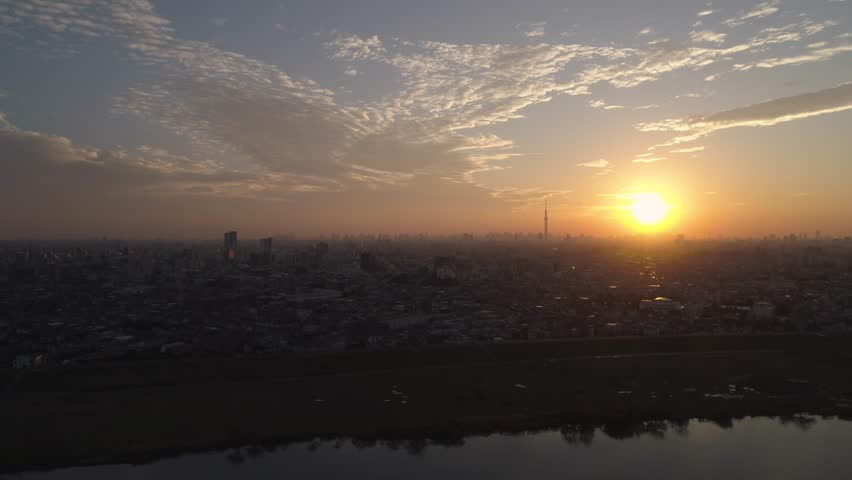 Aerial view of Tokyo cityscape at sunset, Tokyo, Japan | Shutterstock HD Video #1008777728