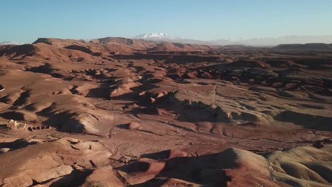 Aerial landscape of Atlas Mountains in Morocco, 4k