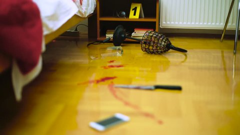 Hands in protective of police detective placing evidence markers by the blood clues of homicide during crime scene investigation, focus change, concept mystery, murder, csi, close up, room interior.