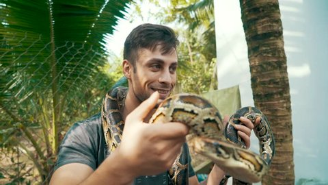 Attractive young guy holds a Burmese Python around his neck and in his hands and watches the snake in awe