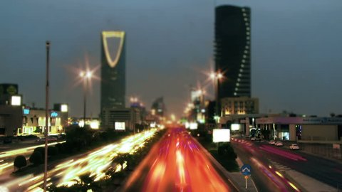 Riyadh,  Saudi Arabia 12 10 2017:Saudi Arabia Riyadh landscape Tim Elapse