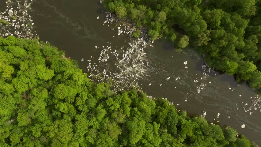 Aerial photography, top view, rapids on the river. A river flowing between stones in the forest.  | Shutterstock HD Video #1008817028
