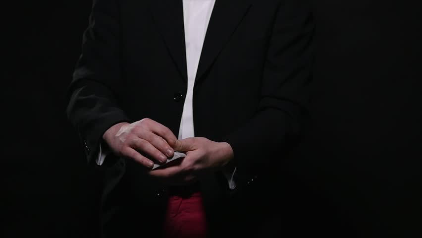 Magic, card tricks, gambling, casino, poker concept - man showing trick with playing cards | Shutterstock HD Video #1008822338