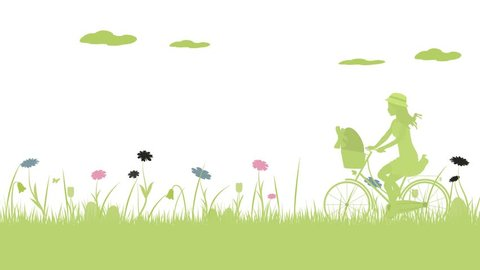 Happy Easter. Field with girl on bicycle, Easter eggs, butterfly and flowers.