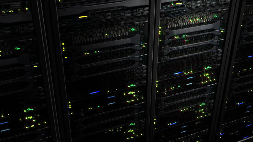3D rendering of dark modern working data servers with flashing LED lights. Data servers loopable animation | Shutterstock HD Video #1008858128