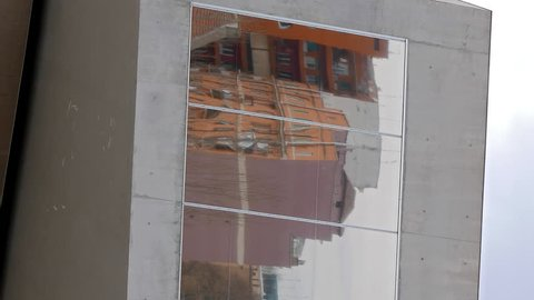 Vertical video. Rome, Italy - February 21, 2015: Windows of the National Museum of Art of the XXI century (MAXXI). is a national museum of contemporary art and architecture