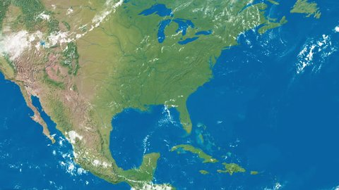 An Earth zoom satellite view to United States of America and surrounding countries.